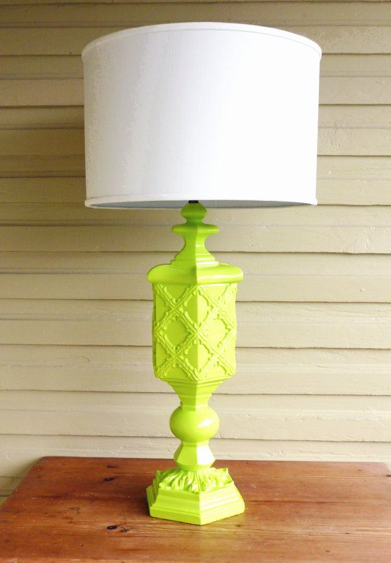 Vintage, Mid Century Modern / Hollywood Regency, GLAM, Tall LIME Green Lamp with Mixed Detailing.