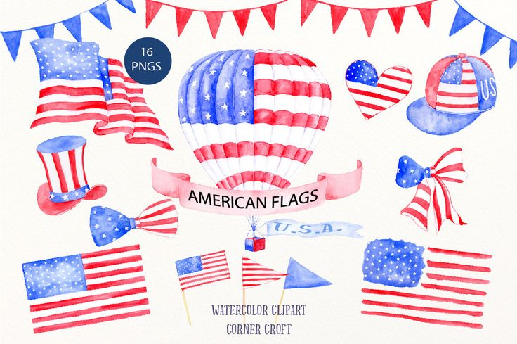 Watercolor Clipart American Flag - Air balloon, American hat, ribbons, buntings for instant download for celebrating, USA, independence day by CornerCroft on Etsy