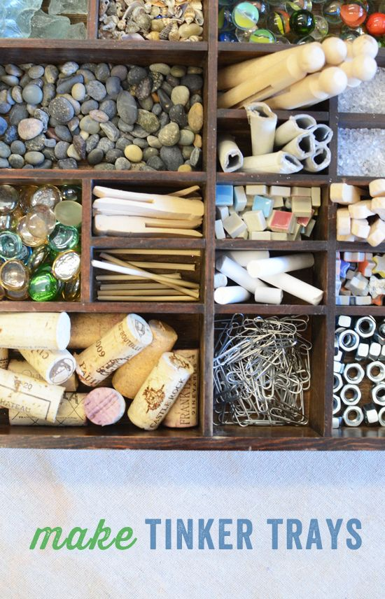how to make tinker trays for kids to create open-ended process art - fun to see what they come up with!