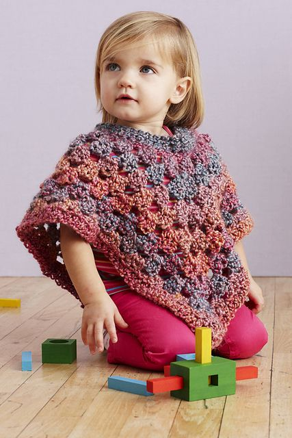childrens crochet poncho free pattern made this with a few changes. Used size 10 hook as I did not have a nine and did a round of reverse single crochet on edgings.  I also did the neck with an opening at the front (worked rows back and forth instead of round) and threaded a ribbon through to tie in front