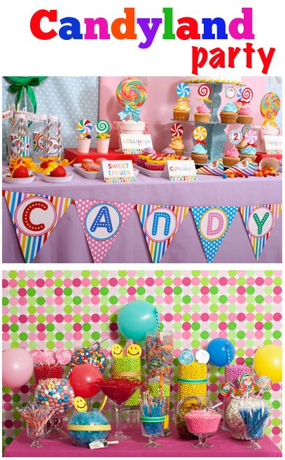 Candyland Party.  Celebrate a boy or girl birthday party with these cute party ideas that mimic the classic game of CANDYLAND.