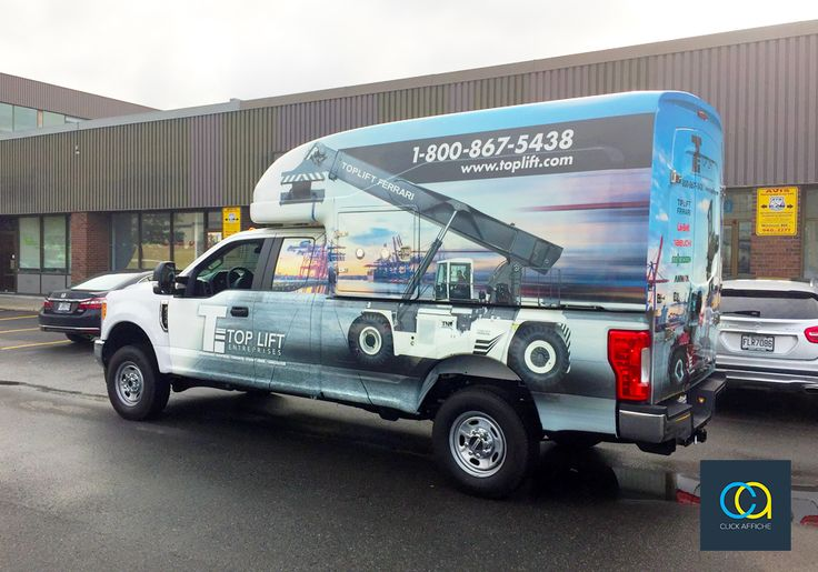 Vehicle wrap on Ford F250 Extended Bed 2017 with top capsule for Les Entreprises Top Lift Inc.
