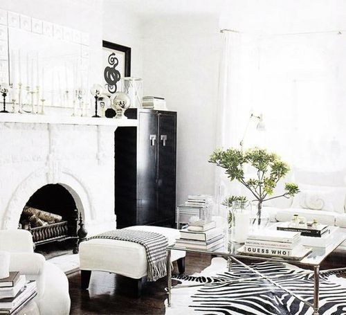 Zebra rug white living room for the home pinterest for Living room ideas zebra