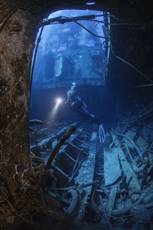 Inside the wreck…