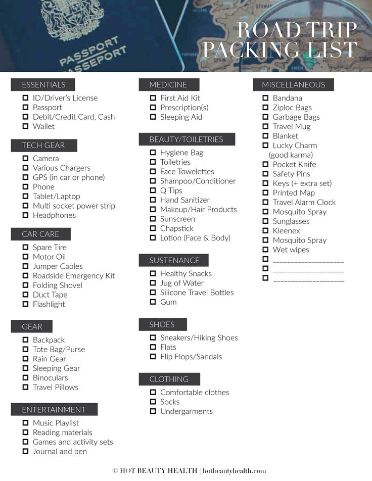 Free road trip packing list printable! Planning to go on a little travel adventure this spring, summer, fall or winter? Whether you are planning to drive across a state or across the continent, here is a road trip packing list of 50 essential items that you need to take with you.