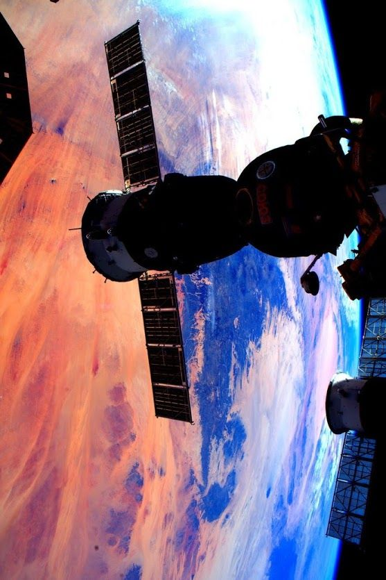 "Magnificent Earth | International Space Station | Scott: ""Day 282. Soyuz silhouette and sunset colors of our magnificent Earth. Goodnight from Space Station!""   Credit: NASA/JSC, U.S. Astronaut Scott Kelly Release Date: January 3, 2016"