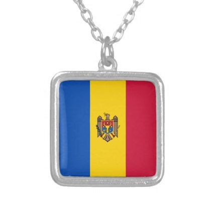 Moldova Flag Silver Plated Necklace - jewelry jewellery unique special diy gift present