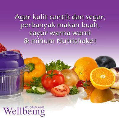 Buah + Sayur + minum Nutrishake bisa menjadikan kulit cantik dan segar lo.. buktikan segera.. !!!
