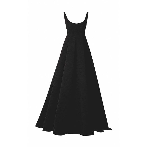 Esme Vie Petunia Ball Gown ($3,460) ❤ liked on Polyvore featuring dresses, gowns, a line gown, a line evening dresses, pleated dress, a line evening gowns and pleated gown