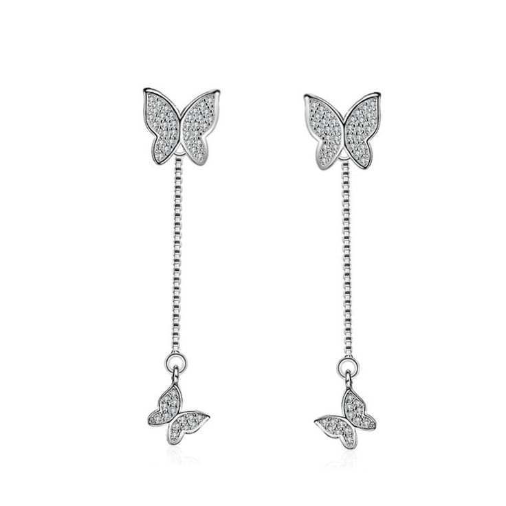 QUKE Lady 925 Sterling Silver Love Heart Shape Cubic Zirconia Crystal Chandelier Dangle Drop Earring Jewellery 3Jn8k3X9j