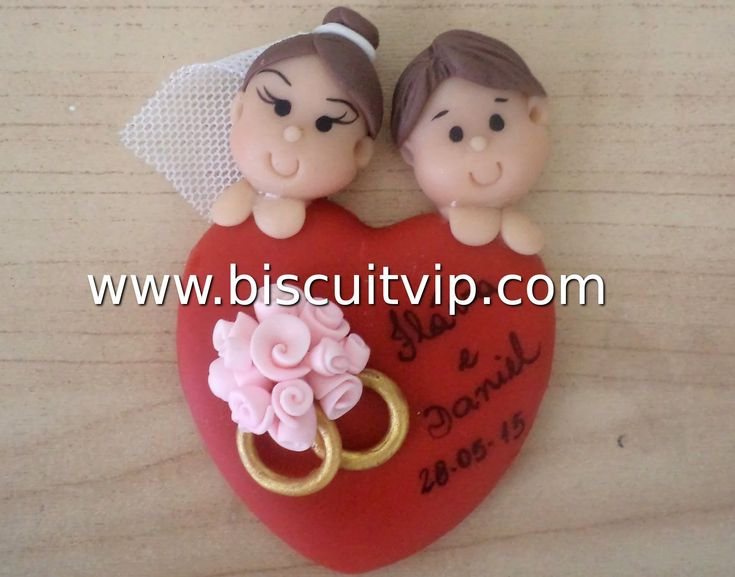 Lembrancinha para Casamento - Noivos no Coração - Canal Aula de Biscuit