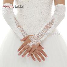 Vivian Nupcial de Alta Qualidade Lace Fingerless Elbow Comprimento Apliques de Renda Branco Vermelho Luvas de Casamento Venda Quente luva de noiva WG12(China (Mainland))