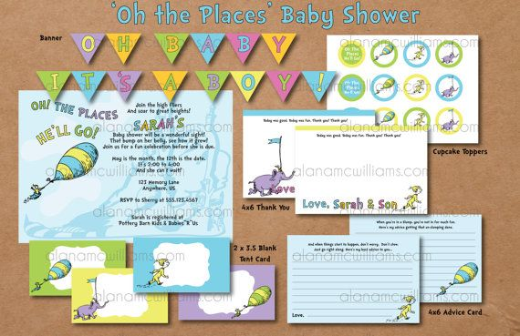 oh the places you 39 ll go dr seuss baby shower party package custom dr