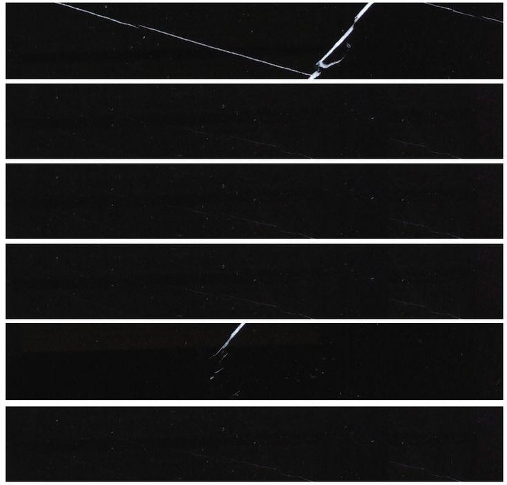 "Nero Marquina (Black Marble) 2 x 12"" Polished Marble Tile"