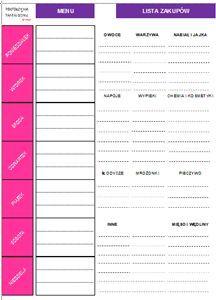 Tygodniowy plan menu pomoże Ci zorganizować swój czas. Dodatkowo znajdziecie tu listę zakupów, która pozwoli ograniczyć wydatki.