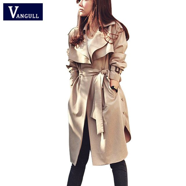 New Fashion Spring Autumn Women Trench Coat Long Outwear Waist Slim Trench Coat for Women With Belt Spring Coat