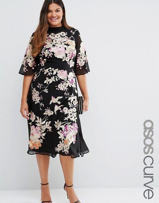 ASOS Curve | ASOS CURVE Premium Chinoiserie Embroidered Dress