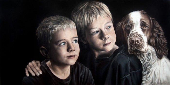 'The  Boys'  Oil on Canvas © Alex Bacskay 2012  Actual Size: 920x460mm