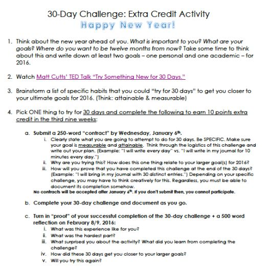 New Year's Lesson and Extra Credit Activity for High School