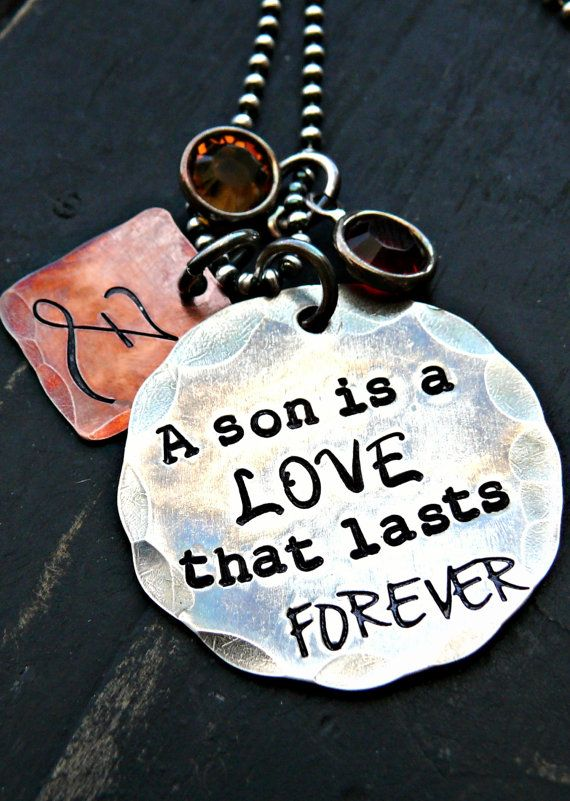 Christmas Gifts - Mothers Personalized Jewelry - Holiday Gift - Hand Stamped Personalized Necklace - Mother and Son Personalized Necklace