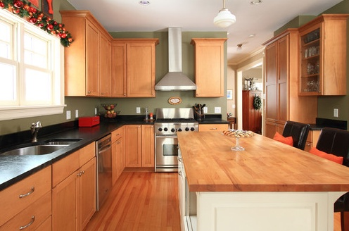 Light Brown Kitchen Cabinets Olive Green Walls Wood