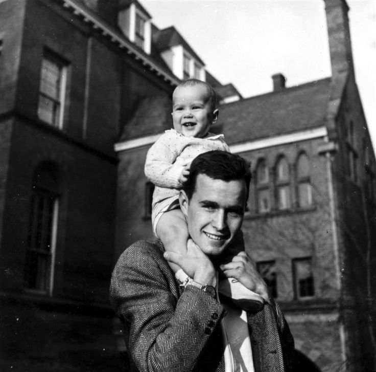 George Herbert Walker Bush, pictured at Yale in 1947, with his son George W. Bush, age nine months.