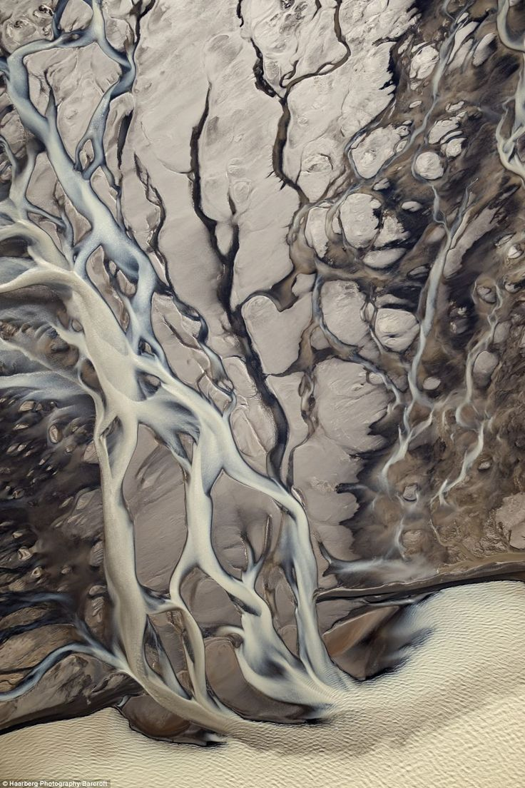 """An aerial view showing small streams flowing at the Langj kull glacier in Iceland"""