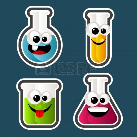 Set of test tube and beaker Cartoons