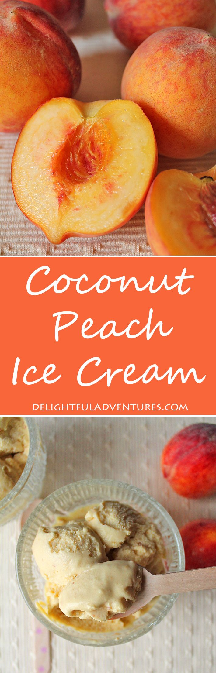 This vegan coconut peach ice cream just screams summer! It's tangy, sweet and contains a surprisingly delicious flavour combo: peach + coconut.