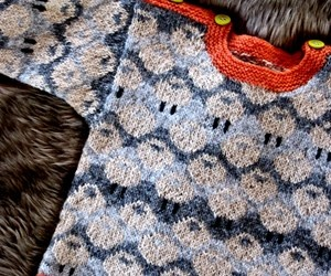 Fåretrøjen  ~  this is a Swedish childs sweater for purchase but love the colours and esp. with the sharper contrast of the orange against the indigo's