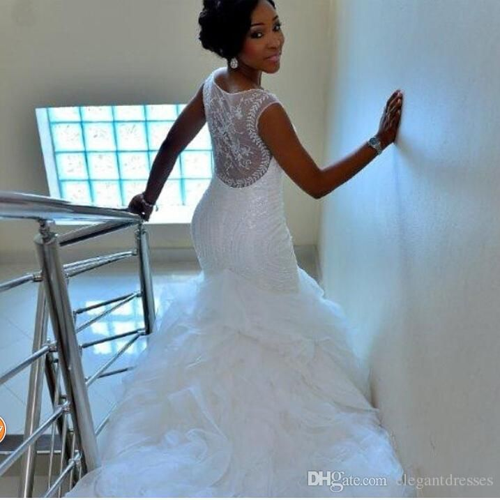 Modest Mermaid Bridal Gown Organza See Through Wedding Dresses 2015 Chapel Train Ruffles Cheap Bridal Gowns Custom Made