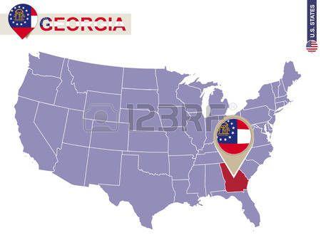 Estado de Georgia en EE.UU. mapa. bandera de Georgia y mapa. Estados Unidos.