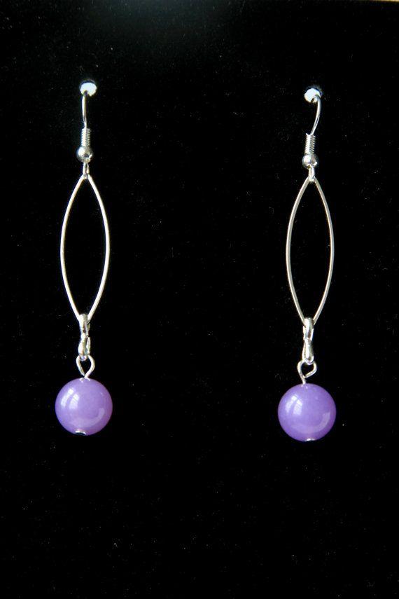 Lilac Earrings Purple Earrings Lavender Earrings Long Earrings Silver plated Earrings Lilac Earrings Loop Earrings #Handmade #Jewelry on ShopJuelerie