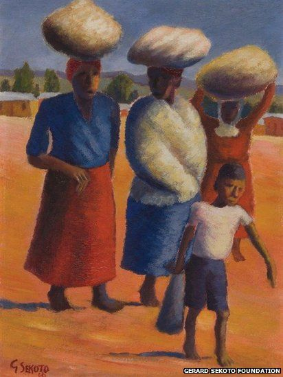 Women and Child, Eastwood, Pretoria 1946, oil on canvass, Private Collection........Gerard Sekoto