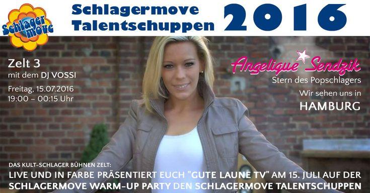 """Schlagermove Talentschuppen 2016! F4M gratuliert – Angelique Sendzik ist Finalistin beim Schlagermove Talentschuppen.  Das Kult-Schlager Bühnen Zelt: Live und in Farbe präsentierT euch """"GUTE LAUNE TV"""" am 15. Juli auf der Schlagermove Warm-Up Party den SCHLAGERMOVE TALENTSCHUPPEN.  Zelt 3 – mit dem DJ VOSSI  Freitag, 15.07.2016 19:00 – 00:15 Uhr  Weitere Infos zum Schlagermove 2016 und zum Talentschuppen findet Ihr hier:"""