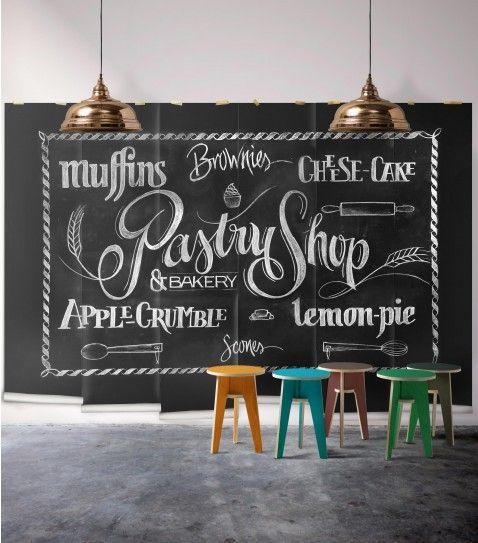 Chalkboard Pastry Shop Wallpaper Mural