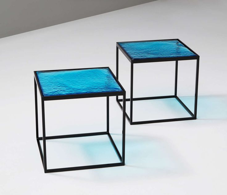 "Multiple Blue Coloured Glass Side Tables with Metal ""Box"" Frame 3"