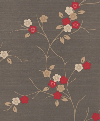 Misaki (96619) - Albany Wallpapers - A pretty oriental cherry blossom style design with stylised flowers on a grass cloth effect background. Available in 3 colours – shown with red and cream flowers on a warm brown background. Please ask for sample for true colour match.