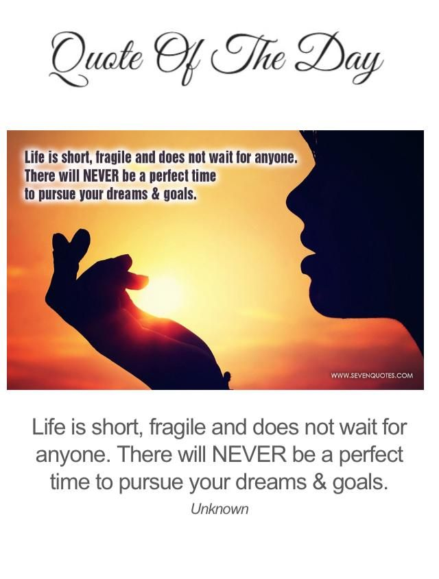 """Have a great Monday! """"Life is short, fragile and does not wait for anyone. There will NEVER be a perfect time to pursue your dreams & goals."""" - Unknown #inspirationalQuote #quote #Monday"""