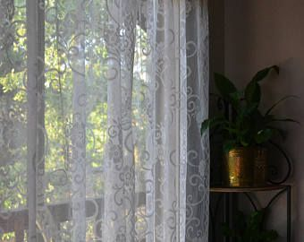 Vintage Lace Curtain Panels Set of 2 bohemian/eclectic/window/home decor