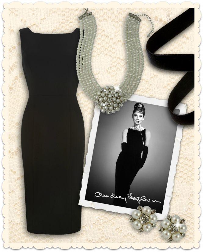 Recréez le look d'Audrey Hepburn! Parfaite petite robe noire, moulante et bijoux de la collection Lovett & Co chez missretrochic.com