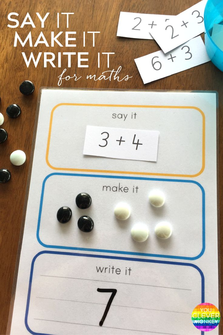 Say It Make It Write It For Maths - how to use this FREE printable five different ways to create engaging maths centre activities in school for children aged 5-7 years   you clever monkey