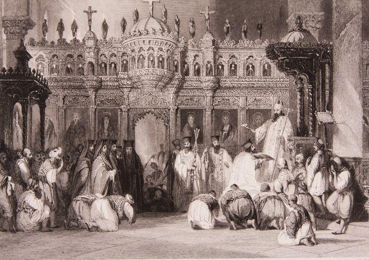 """Manisa'da Ortodoks Kilisesi Gravür-Thomas Allom tarafından tarafından çizilmiş, İngiliz Konsolosluğu'nun din görevlisi olarak uzun yıllar İstanbul'da kalmış olan R. Walsh'ın 1839 yılında Londra'da basılan """"Constantinople ..."""" adlı meşhur seyahatnamesi nde yer almış orjinal çelikbaskı gravür. Bu seyahatname Osmanlı gündelik yaşamı ve İstanbul güzelliklerini anlatmakta olup 19. yüzyıl Avrupası'nın en çok ilgi çeken kitaplarından biri olmuştur."""