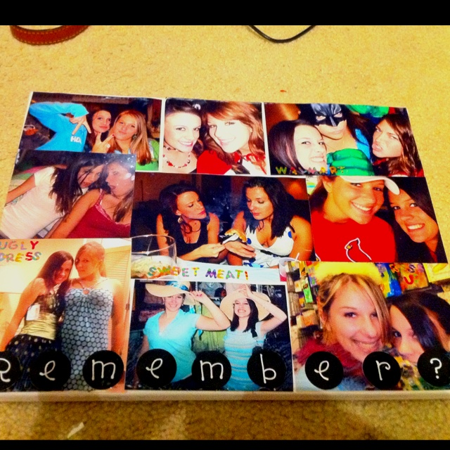 Craft #1 complete: take a canvas and mod podge pictures to it to make a photo collage. Turned out cute!!