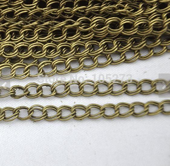 Цепочки 16ft 5 метров антикварный бронза два 2-слойные двойной проволока скрученный кабель цепочка звеньевая 4 x 5 мм своими руками аксессуар ювелирные изделия делает