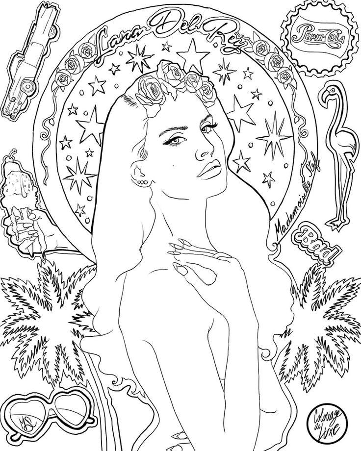 Mademoiselle Stef - Blog Mode, Dessin, Paris | Coloriage : Lana Del Rey – Ultraviolence | http://www.mademoisellestef.com coloring page