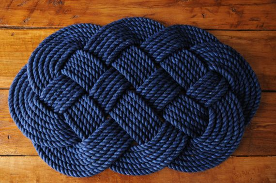 navy rope rug bath mat... Nautical Bath Mats Perfect for a Seaside Summer from Bathroom Bliss by Rotator Rod