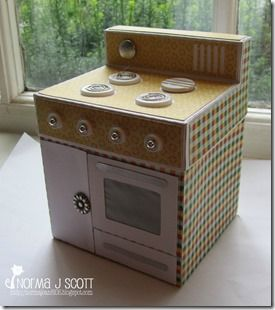 Check out NormaJean super cute Vintage Oven Box from FARMHOUSE KITCHEN SVG KIT!  Perfect embellishments and adorable paper bring out the vintage look!