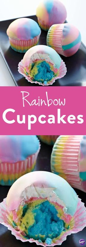 How to Make Rainbow Cupcakes - The radical rainbow effect is hip once again. Create the tie dye effect inside and out, with cupcakes featuring layered batter colors and three shades of candy clay on top. Great to serve at any occasion!
