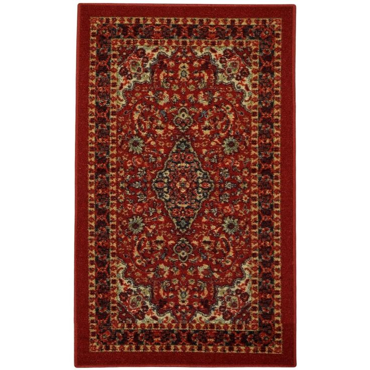 This affordable and fashionable rubber back red traditional floral non-slip door mat is a great way to set a color theme in the home.